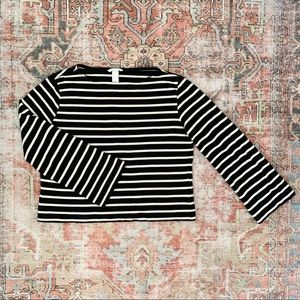 H&M Black & White Striped Sweater Bell Sleeves